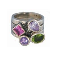 Charmins XL ringencombinatie XL1022 purple green & pink combi