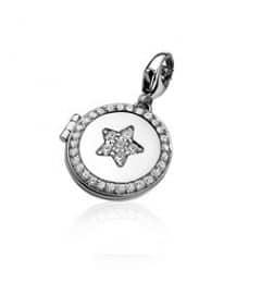 Zinzi charm 284 medaillon rond ster zwart en wit