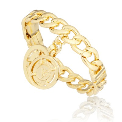 Tov Essentials armband 888 open/closable chained bangle gold