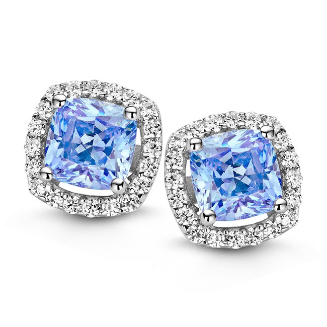 Zilveren oorstekers met wit en blauw zirkonia