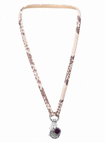 Leather necklace king python 70cm