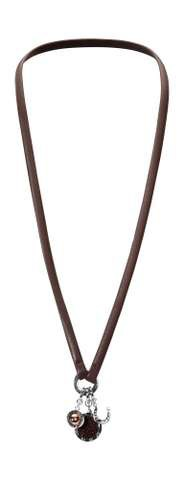 Leather necklace brown 70cm