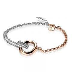 ZINZI zilveren jasseron armband roségoud ZIA1230