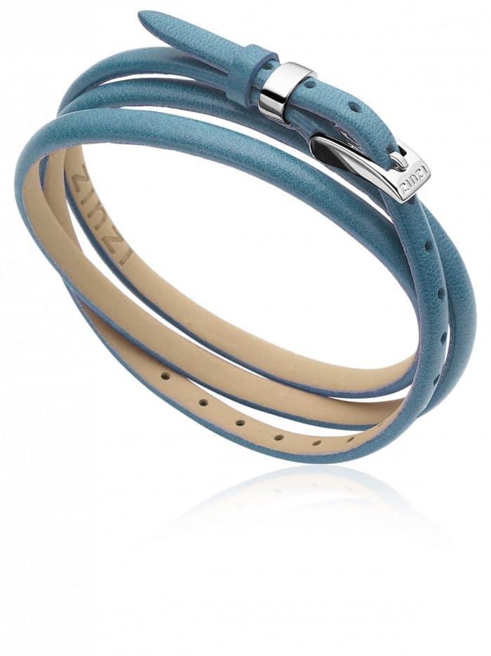 ZINZI leren armband blauw ZIA945B