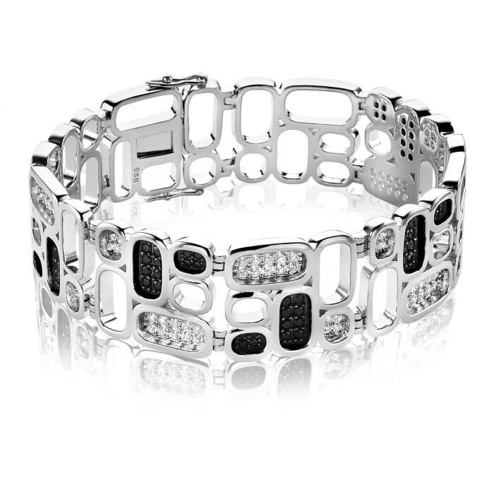 Mart Visser by ZINZI zilveren luxueuze armband wit zwart MVA3Z