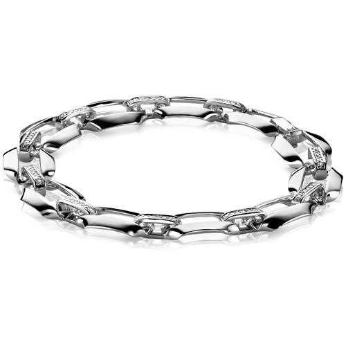 Mart Visser by ZINZI zilveren schakelarmband glad MVA2