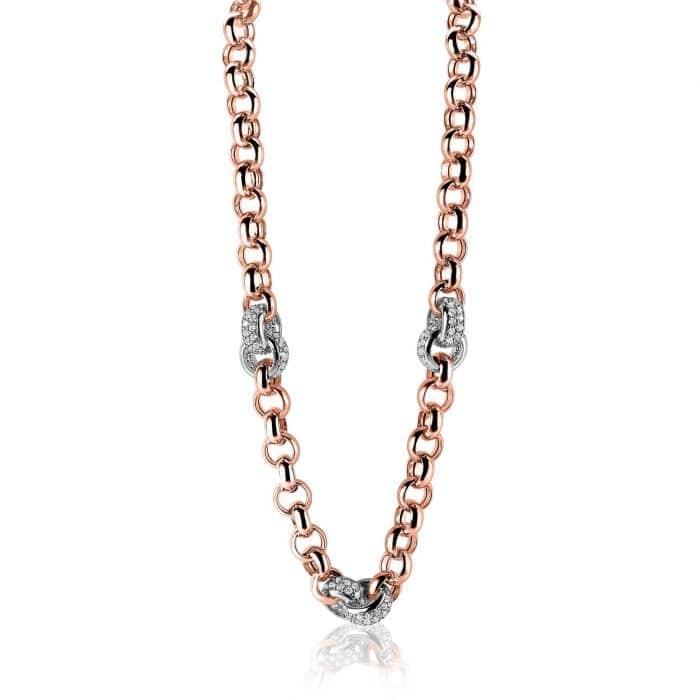 Zinzi zilveren jasseron collier roségoud ZIC1207R