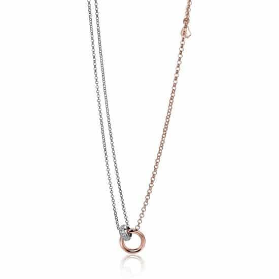 ZINZI zilveren jasseron collier roségoud ring wit ZIC1230