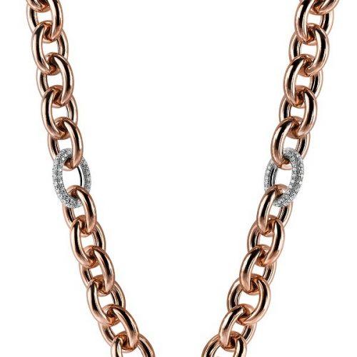 ZINZI zilveren schakel collier roségoud wit ZIC1208R