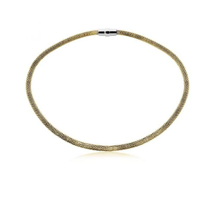Zinzi strak zilveren collier geelgoud ZIC681G
