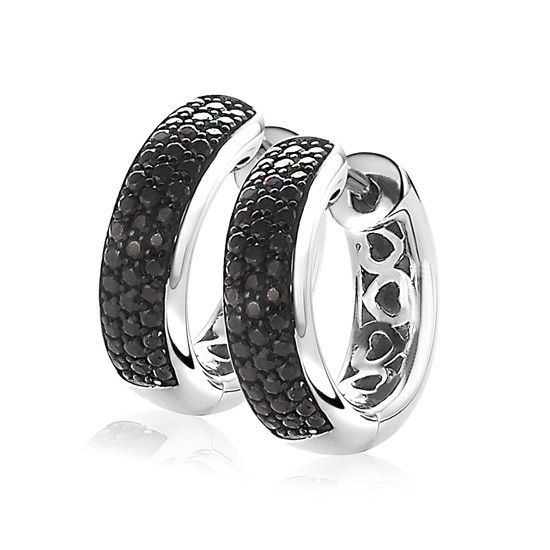 ZINZI zilveren creolen 17 x 5mm zwart ZIO1183Z