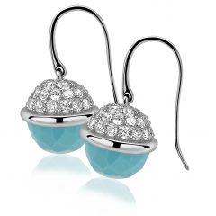 ZINZI zilveren oorhangers turquoise ZIO991T