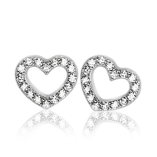 Zinzi zilveren oorknoppen hart wit ZIO1098