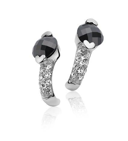 Zinzi zilveren oorstekers zwart wit ZIO270Z
