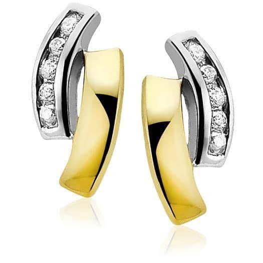Zinzi Gold 14 karaat gouden oorsieraden diamant wit ZGO105