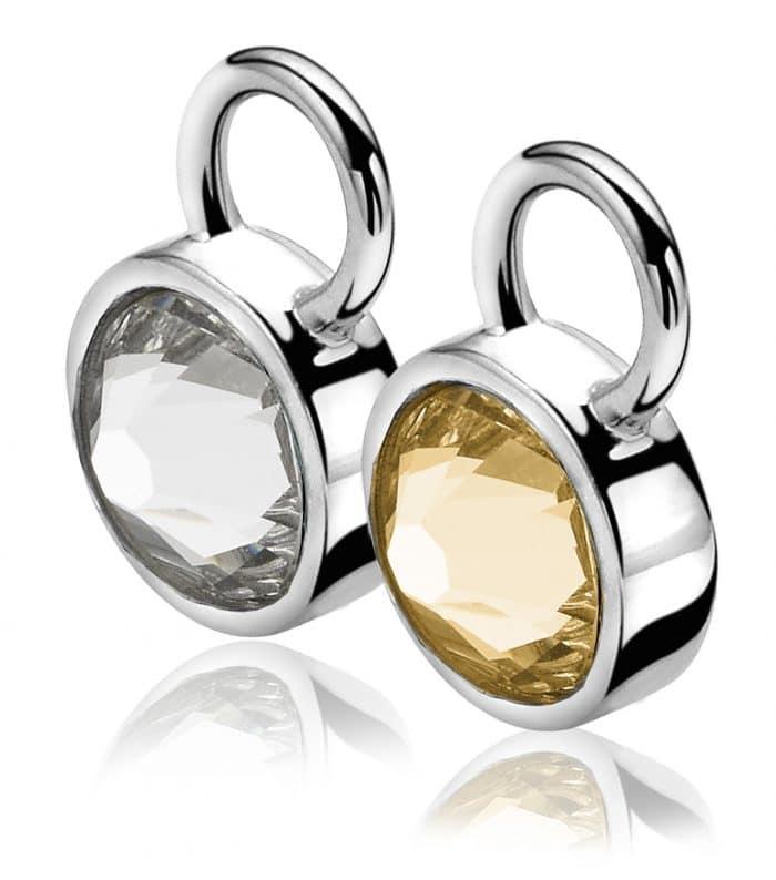 Zinzi zilveren creoolhangers champagne wit ZICH1006C