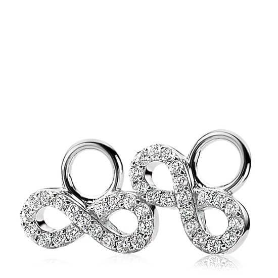 ZINZI zilveren creoolhangers Infinity wit ZICH1065Z