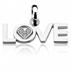 All You Need Is Love by ZINZI zilveren hanger 29mm wit LOVEH09