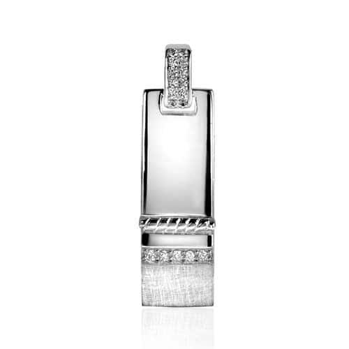 Mart Visser by ZINZI zilveren hanger wit MVH6