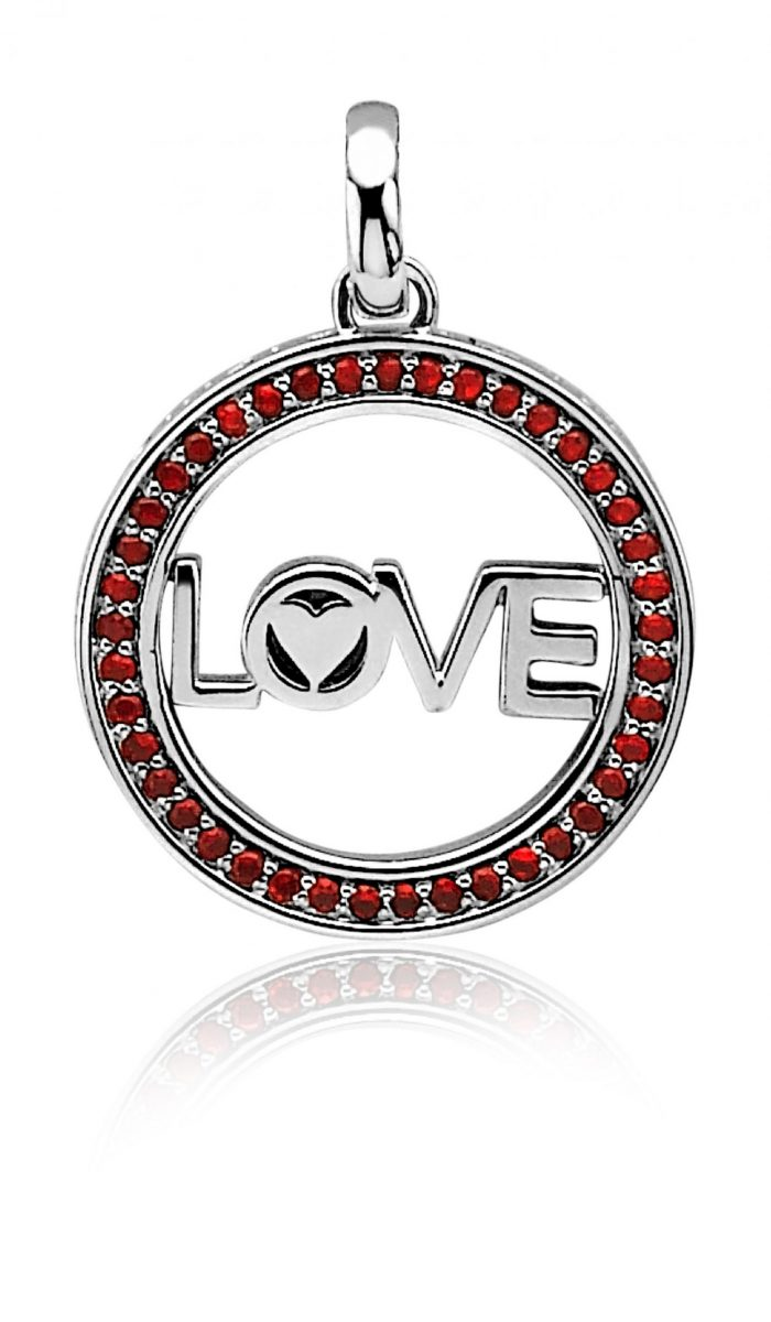 All You Need Is Love by ZINZI zilveren hanger 25mm rood LOVEH08R