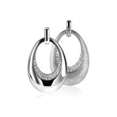 Mart Visser by ZINZI zilveren hanger tweezijdig ovaal wit MVH10