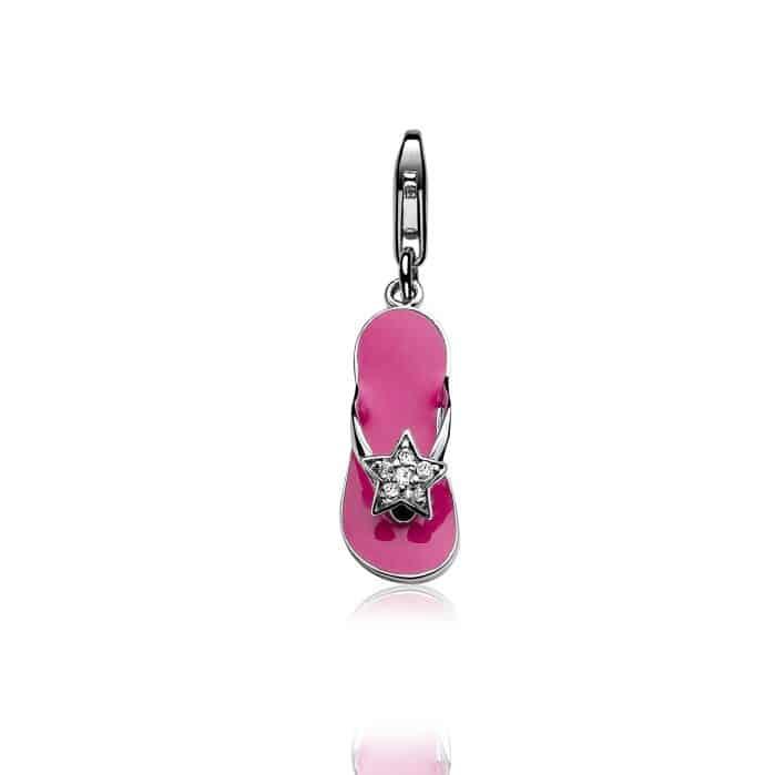 Zinzi zilveren bedel teenslipper roze CHARMS258