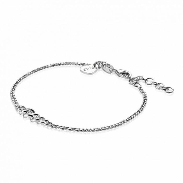 Zinzi zilveren roségoud vergulde gourmet armband 17-20 cm ZIA1259R