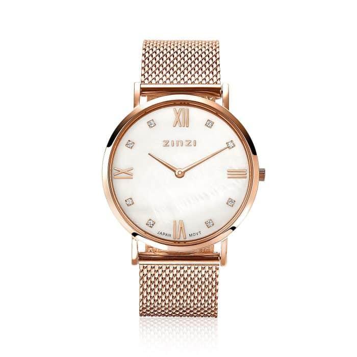 ZINZI Roman horloge wit parelmoer ZIW522M