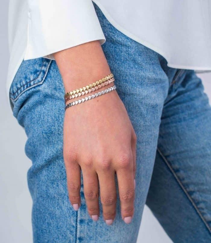 ZINZI zilveren armband geel verguld hartjes