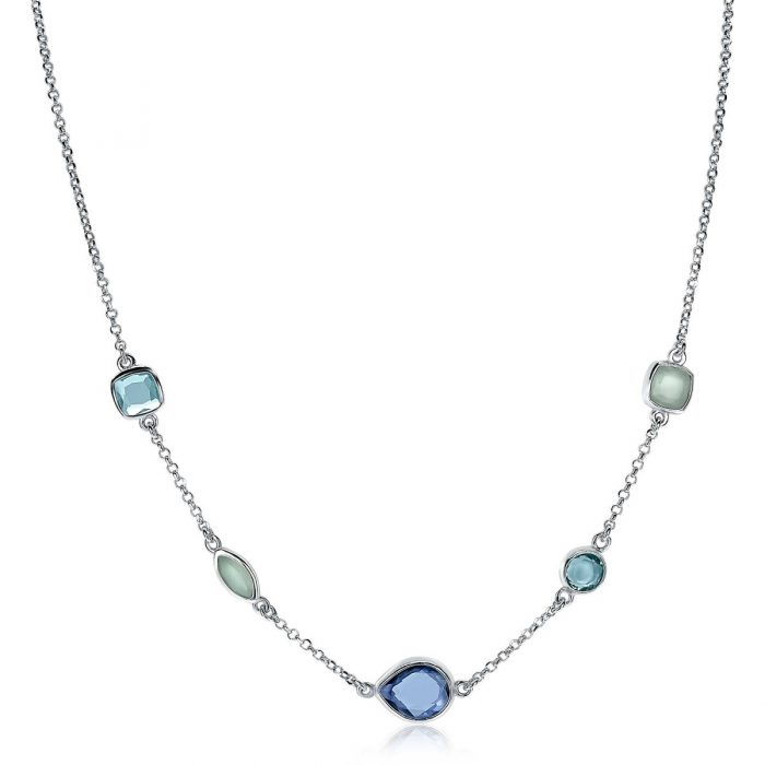 ZINZI zilveren collier blauw