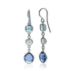 ZINZI zilveren oorhangers blauw