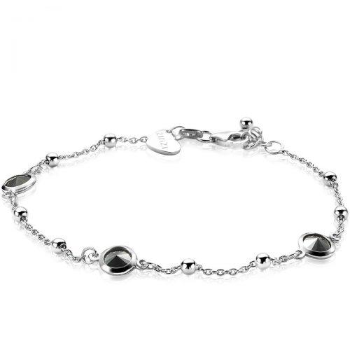 ZINZI zilveren armband zwart