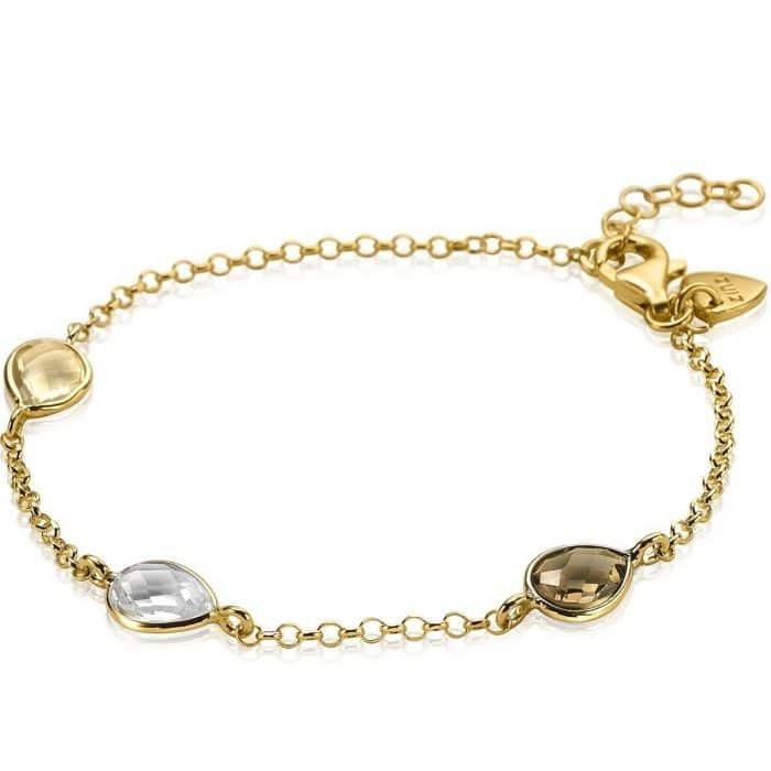 ZINZI zilveren geel vergulde armband champagne