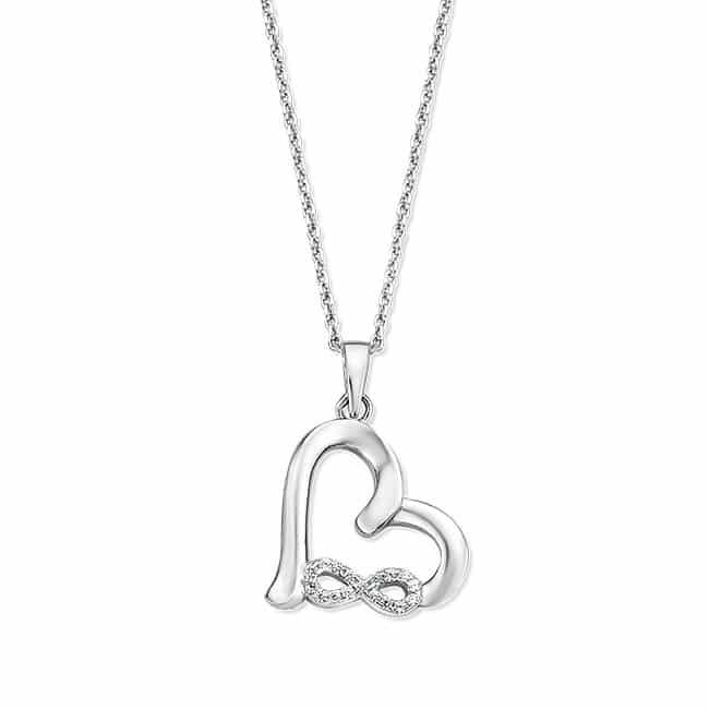 Rosa di Luca zilveren hanger infinity hartje