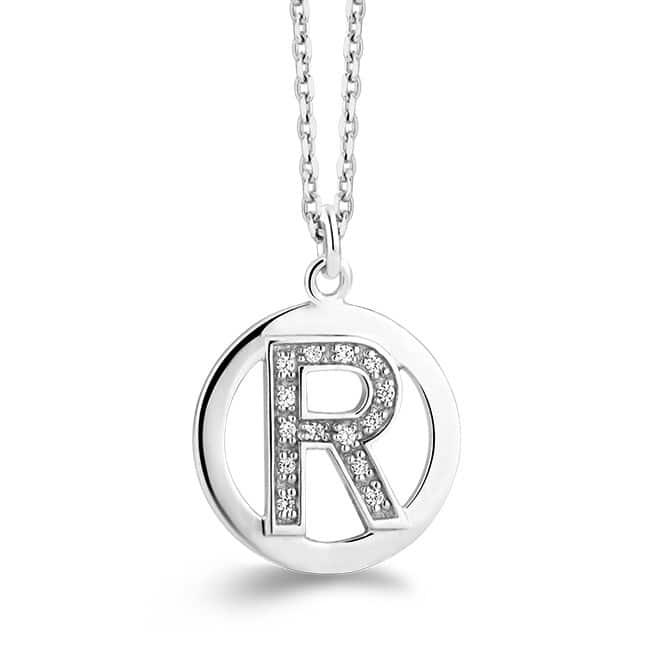 Rosa di Luca zilveren letter hanger